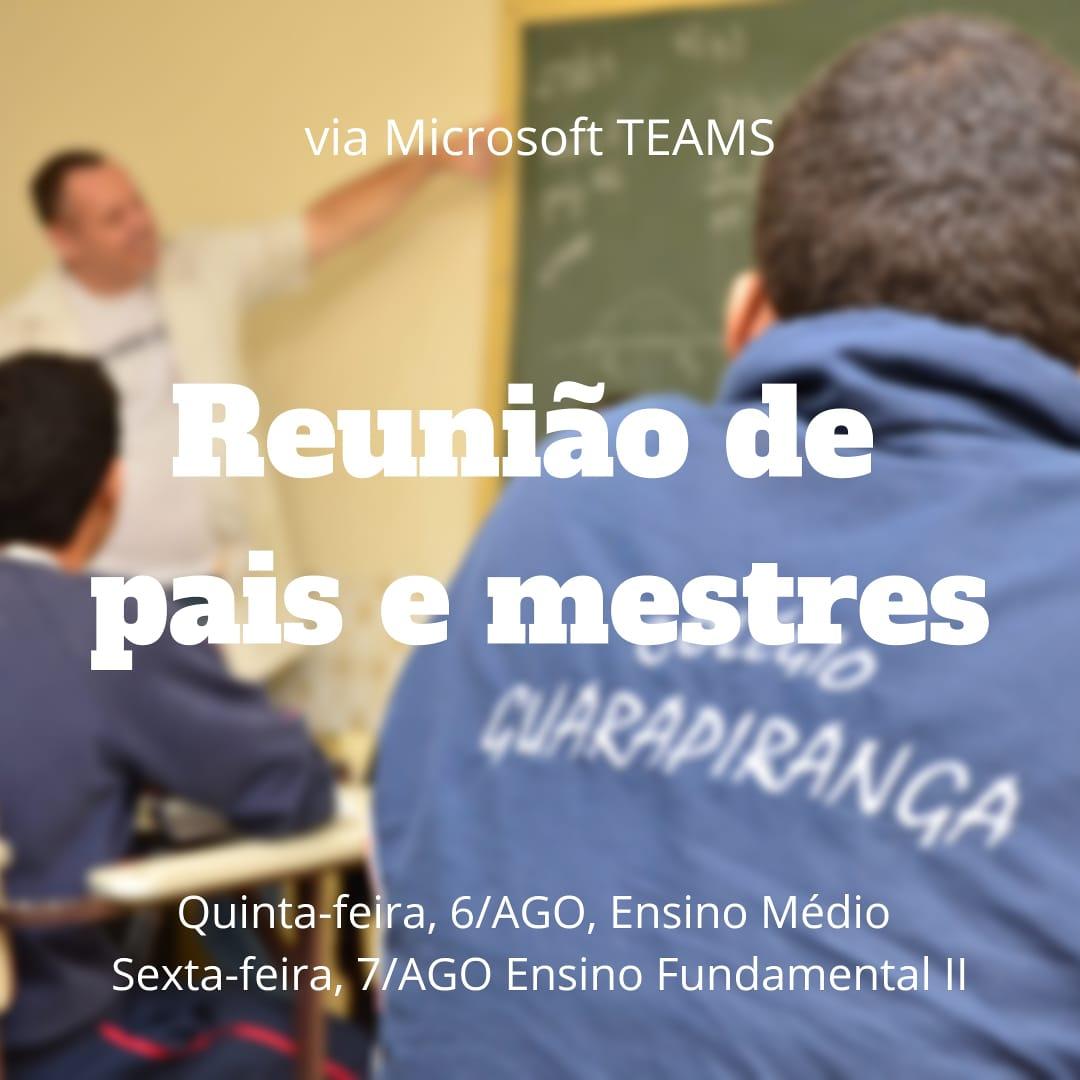 <p>Srs. Pais, Informamos que na próxima quinta-feira, dia 06 de agosto, nos reuniremos com os pais do Ensino Médio e no dia 07, sexta-feira, com os pais do Ensino Fundamental II (6° ao 9° ano – anos finais). A reunião acontecerá com a Diretora do Colégio Guarapiranga, Sra. Sandra, e […]</p>